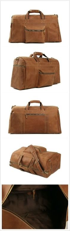 Men's Crazy Horse Leather Travel Bag Duffel Bag Luggage