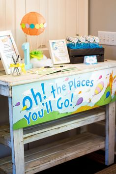 """An """"Oh The Places You'll Go"""" themed first birthday with FREE Dr. Seuss party favor printables from Sweetwood Creative Co! (@sweetwoodCC)  Dr. Seuss party ideas 