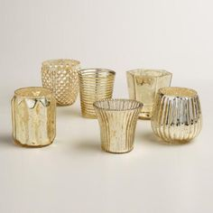 One of my favorite discoveries at WorldMarket.com: Gold Mercury Glass Votive Candleholders, Set of 6