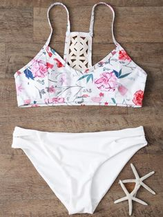 SHARE & Get it FREE | Low Rise Floral Bikini Set - WhiteFor Fashion Lovers only:80,000+ Items • New Arrivals Daily Join Zaful: Get YOUR $50 NOW!