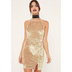 Missguided 90's Split Hem Velvet Bodycon Dress ($16) ❤ liked on Polyvore featuring dresses, gold, high neck bodycon dress, velvet bodycon dress, body con dress, high neckline dress and body conscious dress
