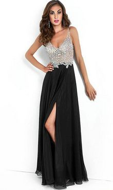 c3ad41c7261 2015 Best Selling Gorgeous A Line V Neck Crystal Beads Side Split Chifon  Black Floor Length Prom Dresses