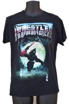 I Wrestled A Bear Once Band T Shirt size L Bear Guitar Chrome metal letters #Gildan #GraphicTee