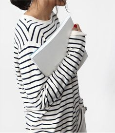 Death by Elocution and stripes Death By Elocution, Looks Style, Style Me, Moda Fashion, Womens Fashion, Street Style Outfits, Mode Simple, Inspiration Mode, Minimal Chic