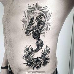 A little prayer by Phil Tworavens. Skeleton Tattoos, Skull Tattoos, Rose Tattoos, Black Tattoos, Body Art Tattoos, New Tattoos, Sleeve Tattoos, Tatoos, Gorgeous Tattoos