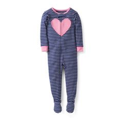 Snug Fit Cotton 1-Piece Pjs - Carter's - Zips from chin to ankle for easy changes Worry-free safety tab protects baby's little chin Built-in footies keep little toes warm Loose fitting cotton garment is not flame resistant. For child's safety, cotton pjs should always fit snuggly. 100% ribbed cotton Machine washable Also available in Baby Girl - For child's safety, cotton pjs should always fit snugly. Cute stripes and appliqué make these pjs just right for her bedtime. Size:2T,3T,4T,5T