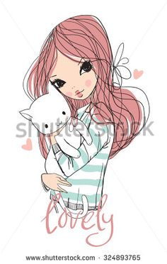 cute girl with cat