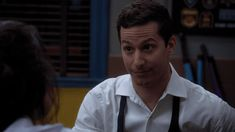 After Jake told Amy that he'd marry her anytime, anywhere. Watch Brooklyn Nine Nine, Brooklyn 9 9, Tv Show Couples, Jake And Amy, Jake Peralta, Gifs, Andy Samberg, Tv Episodes, Film Books