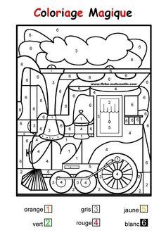 COLORIAGE MAGIQUE pour les plus petits : une locomotive