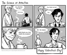 "(Sherlock: Science of Affection by dauntingfire.deviantart.com) ""No reason..."" Sherlock has a heart after all."