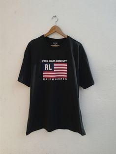 Vintage 90s POLO Jeans Ralph Lauren Big Flag Polo USA RL T-Shirt Size L by BubaGumpBudu on Etsy