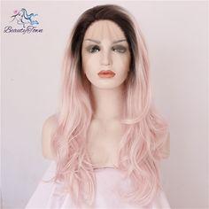 Synthetische kant lijmloze cosplay hittebestendige voor vrouwen gift 1b roze ombre kleur natuurlijke grote golf lange haar party pruik in                  & van synthetische pruiken op AliExpress.com   Alibaba Groep
