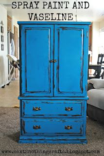 Next 2 Nothing Crafts: Distress Using Spray Paint and Vaseline - DIY real Refurbished Cabinets, Refurbished Furniture, Paint Furniture, Repurposed Furniture, Furniture Projects, Furniture Making, Furniture Makeover, Kitchen Furniture, Upcycled Crafts