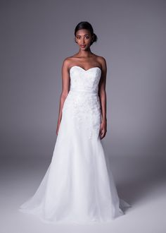 A-line Strapless Sweep/Brush Train Tulle Fabric Bridal Wedding Dresses With Appliques Style Cheap Wedding Dresses Online, 2015 Wedding Dresses, Ireland Wedding, Lace Bride, Tulle Fabric, Online Dress Shopping, One Shoulder Wedding Dress, Appliques, Train