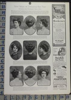 1908 FASHION HAIRDO HAIR STYLE CARE BEAUTY COMB PHOTO ILL VINTAGE AD CJ75 | eBay
