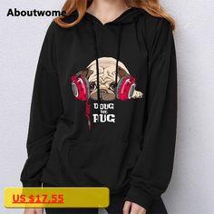 Doug The Pug 2017 Hoodie Sweatshirt Women Funny Cute Kawaii Long Sleeve Top Loose Harajuku Kpop Pullovers For Girls