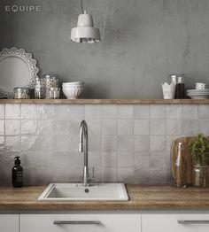 MALLORCA By EQUIPE CERAMICAS Grey Backsplash, Kitchen Backsplash, Grey Kitchen Wall Tiles, Kitchen Soffit, Rustic Backsplash, Backsplash Design, Neutral Kitchen, Kitchen Grey, Kitchen Remodelling
