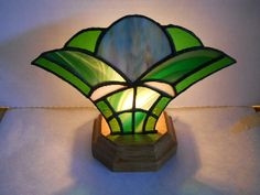Green Stained Glass Fan Lamp #HAS #HAF #HAFshop #handmade $40.00