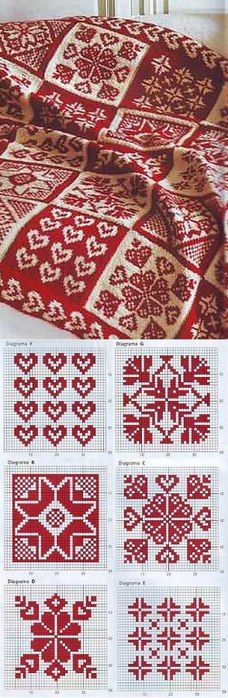 Red and White fair isle knitting pattern and designs Knitting Charts, Knitting Stitches, Knitting Needles, Free Knitting, Sock Knitting, Vintage Knitting, Knit Patterns, Cross Stitch Patterns, Afghan Patterns
