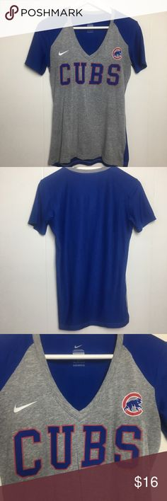 "Nike Cubs Womans Baseball Tee Medium Blue 186 Excellent Pre Owned Condition! Please see photos for exact details!  Pit to Pit: 17"" Pit to end of sleeve: 3"" Shoulder to Hem: 25"" Size: Medium   Check out my other listing! Nike Tops Tees - Short Sleeve"