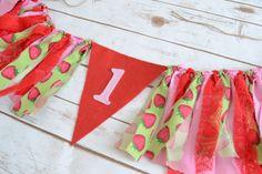 1st birthday high chair FELT banner  Strawberry by BannersAway