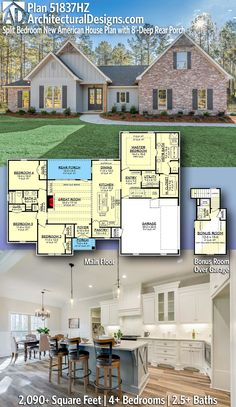 Plan Split Bedroom New American House Plan with Rear Porch - Craftsman House Plans - Architectural Designs Country Craftsman House Plan gives you square feet of living s - 4 Bedroom House Plans, New House Plans, Dream House Plans, Dream Houses, Floor Plan 4 Bedroom, Family House Plans, The Plan, How To Plan, Br House