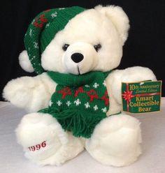 """NEW Vtg Kmart 1996 Christmas 10th Anniversary LE Teddy Bear Plush LG 21"""" W/ Tags #DanDeeKmart"""