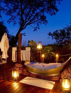 Having a bath in the bush under the stars. I almost forgot to get in....2013 Botswana