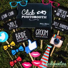 Kit para Photobooth Casamientos - 25 Accesorios para el rincón de fotos