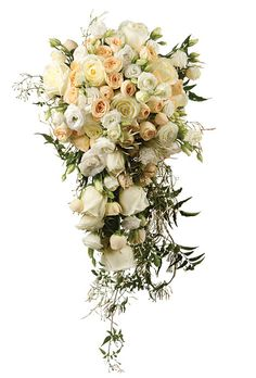 Cascade Bouquet just dripping with tendrils of Jasmine and Soft Muted Colored Roses feels lush and sensual!!