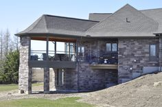 Private Residence - London, ON Upper Canada Chocolate & Mocha Sawnbed Ledgerock, Building Stone, Mocha, Natural Stones, Gazebo, New Homes, Canada, Design Ideas, Exterior, Outdoor Structures