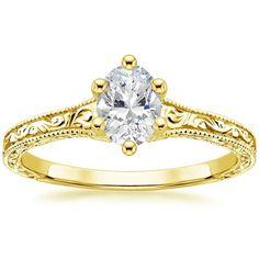 Oval Cut Hudson Diamond Engagement Ring - 18K Yellow Gold