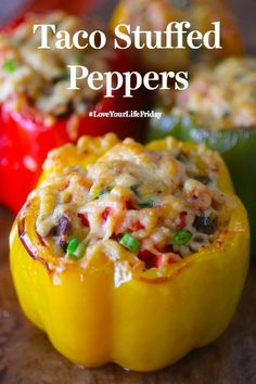 Yummy Taco Stuffed Peppers by the Dashing Dish at karenehman.com