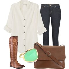 Casual button-down. Boots. Jeans. Cool ring. Love it.