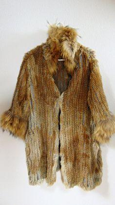 PUNK Hippie VINTAGE 1970 red fox fur hat size medium