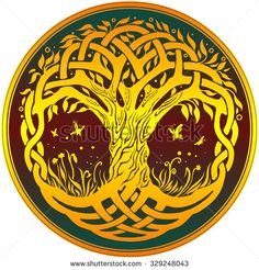 Vector ornament, yellow decorative round Celtic tree of life on dark red…