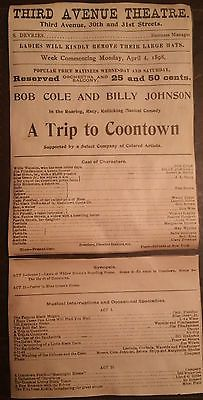 A TRIP TO COONTOWN New York Third Avenue Theatre 1898 by Bob Cole. This was the first musical entirely created by, owned by and performed by African Americans. Partial playbill.