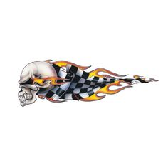 Pilot Automotive Checkered Skull Left Graphic Lethal Threat Decal