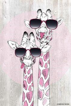 Giraffes With Sunglasses Poster – Pointless Posters Giraffe Painting, Giraffe Art, Cute Giraffe Drawing, Animal Paintings, Animal Drawings, Art Drawings, Drawing Animals, Tier Wallpaper, Animal Wallpaper