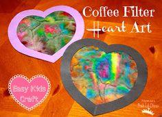 Mom to 2 Posh Lil Divas: Kid's Craft: Coffee Filter Heart Art for Valentine's Day