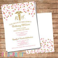 Nursing Graduation Invitation RN Pink and Gold by PicsandPaper