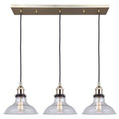 Shop for Canarm Verona 3 Light Cord Pendant with Clear Glass, Polished Brass/Black - Vintage Bulb Included. Get free delivery On EVERYTHING* Overstock - Your Online Ceiling Lighting Store! Dining Room Light Fixtures, Pendant Light Fixtures, Pendant Lighting, Kitchen Lighting, Deco Luminaire, Multi Light Pendant, Lowes Home Improvements, Polished Brass, Modern Lighting