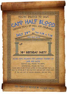Percy Jackson Birthday Party invitation