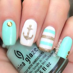 Tiffany Blue and Gold Nautical Nails with Anchor ⚓️ - Nail Art Designs Fancy Nails, Love Nails, Diy Nails, How To Do Nails, Pretty Nails, Gel Manicure, Dream Nails, Gel Nail, Shellac