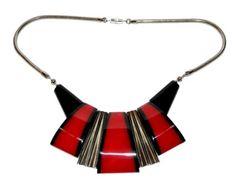 Deco Jakob Bengel Necklace Chrome Black Red Galalith