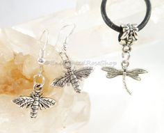 Dragonfly Pendant Necklace with Silver Bee by EnchantedRoseShop
