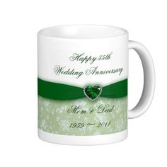 Damask 55th Wedding Anniversary Classic White Coffee Mug Emerald Mugs