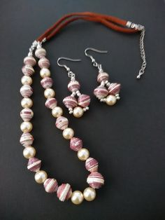 Paper Beads Necklace and Earrings set with Swarovski Pearls