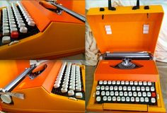ORANGE OLIVETTI TYPEWRITER vintage portable Sears Chevron Made in Portugal black red ink ribbon with case super rare amazing condition. $495.00, via Etsy.