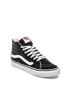 Vans Sk8-Hi Slim Sneaker in Black & True White   REVOLVE